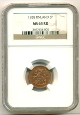 Finland 1938 5 Pennia MS63 RED NGC