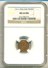 Finland 1911 Penni MS64 RB NGC