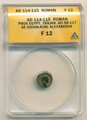 Roman Empire Egypt Trajan AD 98-117 AE Dichalkon Alexandria Mint F12 ANACS