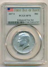 2017 S Kennedy Half Dollar 50 Cents Enhanced SP70 PCGS FDI/Flag