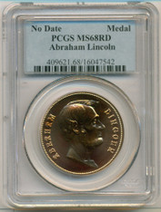 Abraham Lincoln Bronze Medal No Date MS68 RED PCGS