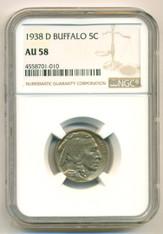 1938 D Buffalo Nickel AU58 NGC