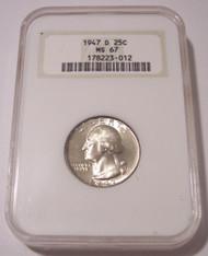 1947 D Washington Quarter MS67 NGC