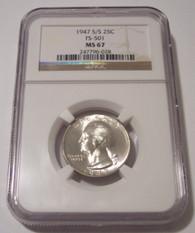 1947 S/S Washington Quarter RPM Variety FS-501 MS67 NGC
