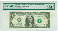 2003 A $1 Federal Reserve Star Note Richmond Gem Uncirculated 65 EPQ PMG