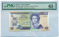 Belize 2011 2 Dollar Note Gem Uncirculated 65 EPQ PMG