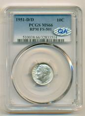 1951 D/D Roosevelt Dime RPM Variety FS-501 MS66 PCGS QA Check Sticker