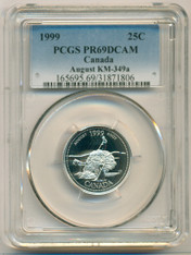 Canada Silver 1999 25 Cents August PR69 DCAM PCGS
