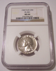 1969 D/D Washington Quarter RPM Variety FS-501 MS66 NGC