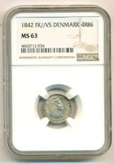 Denmark Silver 1842 FK//VS 4 RBS MS63 NGC
