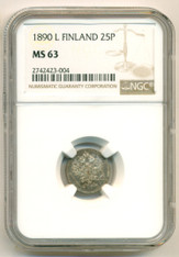 Finland Silver 1890 L 25 Pennia MS63 NGC