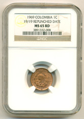 Colombia 1969 Centavo 19/19 Repunched Date MS65 RED NGC