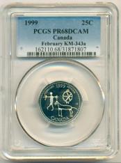 Canada Silver 1999 25 Cents KM-343a February PR68 DCAM PCGS