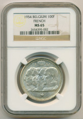 Belgium Silver 1954 100 Francs French Legend MS65 NGC