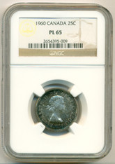 Canada Silver 1960 25 Cents PL65 NGC Color-Toned