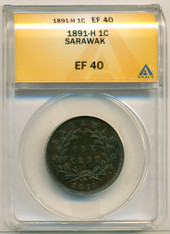 Sarawak 1891 H Cent EF40 ANACS