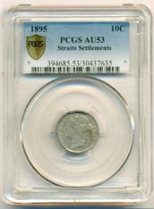 Straits Settlements Silver 1895 10 Cents AU53 PCGS Secure