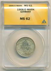 Germany -Empire- Silver 1906 D Mark MS62 ANACS