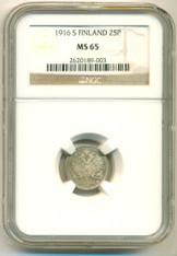Finland Silver 1916 25 Pennia MS65 NGC