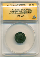 Roman Empire Constantine The Great AD 335-337 AE 17.5mm EF45 ANACS