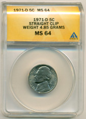 1971 D Jefferson Nickel Error Straight Clip MS64 ANACS