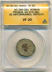 Roman Empire Probus AD 276-282 Ae Antoninianus Antioch Mint VF20 ANACS
