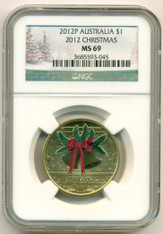 Australia 2012 P Dollar Christmas MS69 NGC