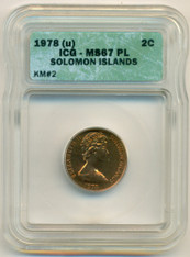 Solomon Islands 1978 (u) 2 Cents KM-2 MS67 PL ICG Low Mintage - Scarce