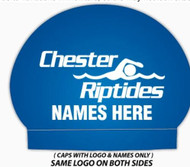 Set of Two Silicone Team Caps with Swimmer Name- Chester Riptides