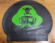Set of two Green silicone  Caps with swimmer Name- Mt Olive Pirates