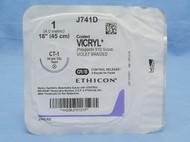 "Ethicon J741D Vicryl Suture, 1, 18"", Violet, CT-1, CR/8"