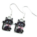 Funky Glitter Black Cat Earrings