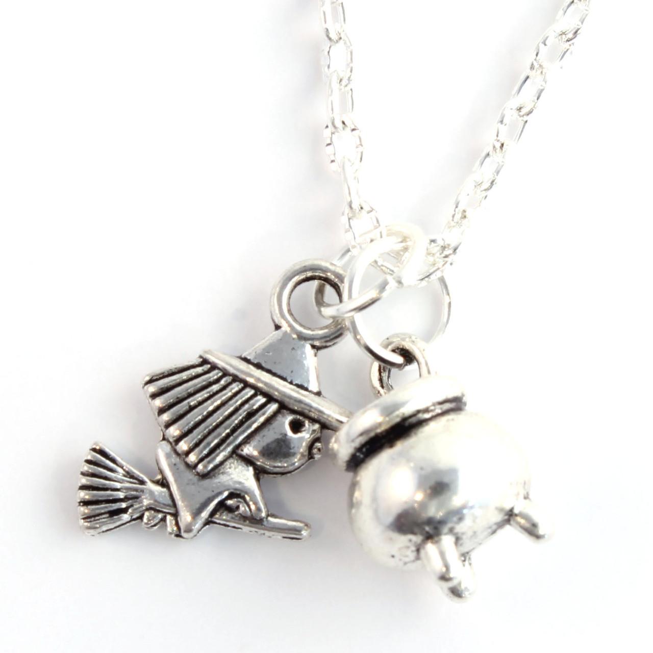 Funky Halloween Mini Witch & Cauldron Necklace