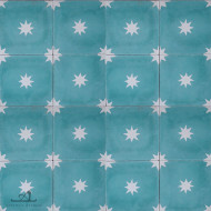 STARS TEAL CEMENT TILES