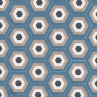 HEXAGON ALBERS BLUE CEMENT TILES