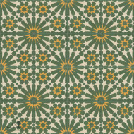 DOUBLE DAISY GREEN CEMENT TILE