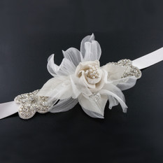 GIAVAN Sash with Silk Flower & Crystal Accents BL51