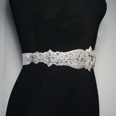 GIAVAN Crystal Bridal Sash on Satin Ribbon BL38