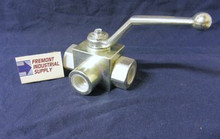 "(Qty of 1) Hydraulic Ball Valve 3 way 1-1/4"" NPT 5000 PSI Gemels GE3NNR63011A000 FREE SHIPPING"