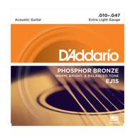 D'Addario EJ15 Acous Phos Bronze .010-.047 Extra Light