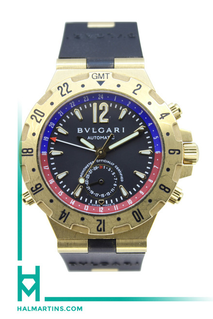 Bvlgari Diagono Pro Aria GMT - 18K Yellow Gold - Black Rubber Strap - Ref. GMT 40 G