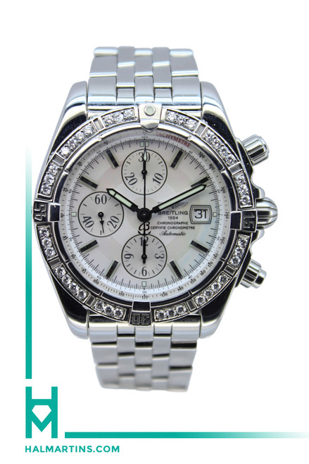 Breitling SS Windrider Chronomat Evolution - Diamond Bezel and MOP Dial - Ref. A13356
