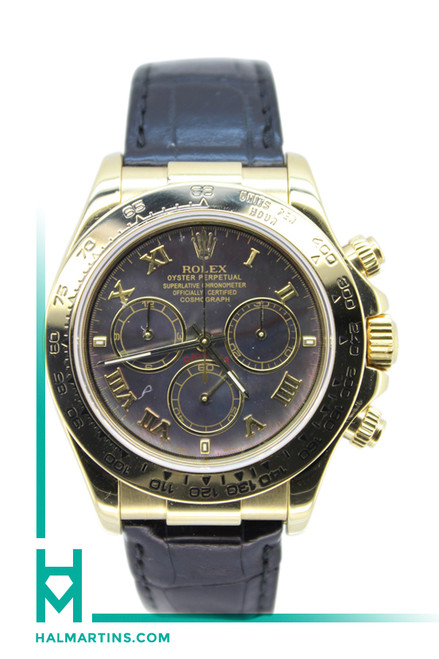 Rolex Men's 18K YG Daytona - Black Mother of Pearl Dial and Leather Strap - Ref. 116518