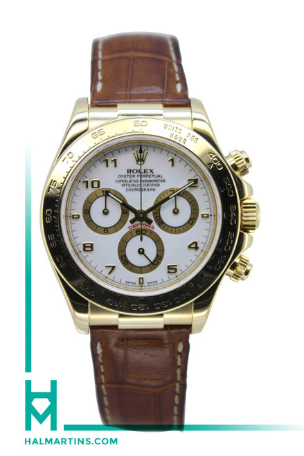 Rolex Men's Yellow Gold Cosmograph Daytona - Brown Leather Strap - Ref. 116518