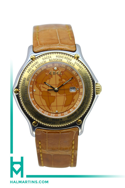 Men's Ebel Two Tone Voyager World Timer Automatic - Tan Globe Dial and Strap