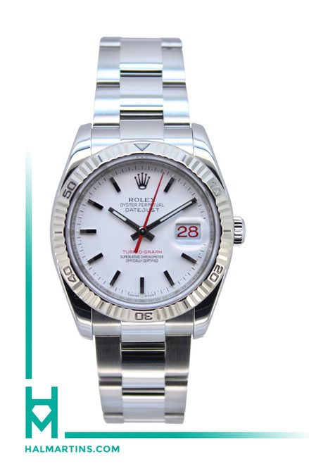 Rolex Men's SS Turnograph Datejust - White Dial - Ref. 116264
