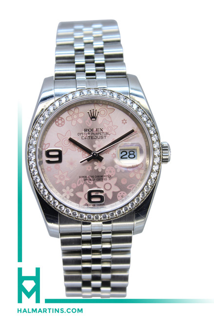 Rolex Stainless Steel Datejust - Diamond Bezel and Pink Floral Dial - Ref. 116234