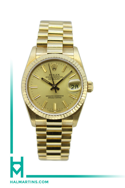 Rolex 18k Yellow Gold Mid-Size Datejust President - Champagne Baton Dial - Ref. 68278