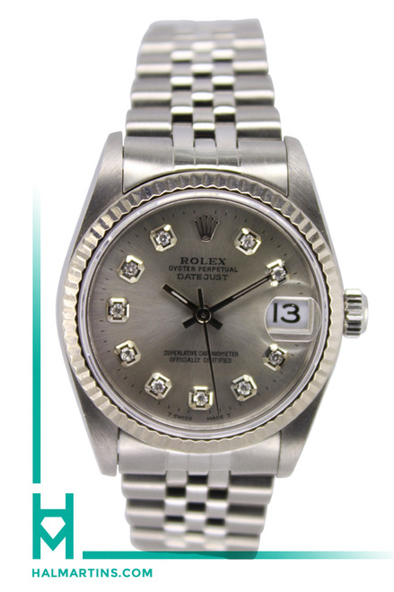 Rolex Stainless Steel Midsize Datejust - Silver Diamond Dial - Ref. 68274