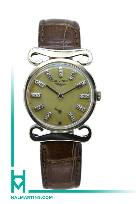 Longines Vintage 14K White Gold Manual Wind - Diamond Hour Markers